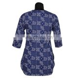 INDIGO HAND BLOCK PRINTED LAYERED COTTON SHORT KURTA