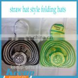 Novel Straw Hat Design 190T Nylon Advising Pop-up Folding Hat Crushhat with Pocket Bulk Promotion