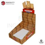 Recycle cardboard display box for crackers CDU-TRAY-025,Food Display Counter