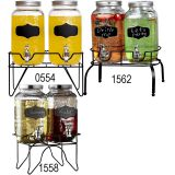 2PC QUALITY GLASS BEVERAGE DISPENSER WITH BLACK RACK