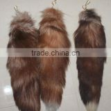 Large Fox Tail Fur Tassel Luxury Keychain Bag Tag Red Charm Keyring Strap Chain