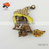 New Trendy Design A Cute Kid On A Broom,Fashion Christmas Brooch With Full Crystals