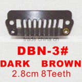 DBN-3# Retail and wholesale 28mm long Dark Brown color straight 8 teeth easy snap clips for hair extensions wigs wefts weavings