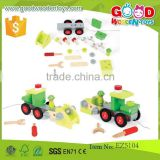 new item wooden tractor toy OEM creative wooden tractor kids combination toys EZ5104