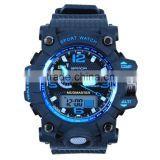 Sanda Men's Teens Sports Watch Waterproof Dual Time Analog Digital LED Light Wristwatch - Black/Blue