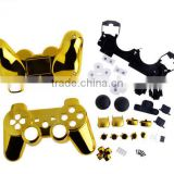 Gold Chrome Controller Housing Shell with Full Set Buttons For Playstation 3 PS3
