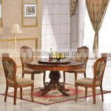 Home furniture dining room set round wood dining table set with turntable
