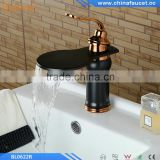 Rose Golden Black Brass Deck Mounted Single Handle Single Hole Bathroom Waterfall Basin Mixer Tap