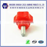 Custom hand tighten red hexagon plastic head screws