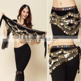 2016 3 Rows Belly Dance Hip Scarves Belly Dancing Waist Chain Hip Scarf Belts 8 Colors with 328 Coins
