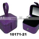 Wholesale purple velvet mirrored jewelry gift Boxes with handle/snap for Ring from China supplier