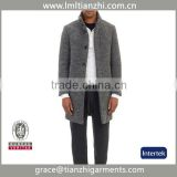 China Supplier Wholesale 2015 Fashion Design New Spring/Winter Men Grey Medium Long Oversize Warm Wool Jacket trench coat