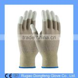 Seamless Knit Nylon/Copper Fiber Electrostatic Dissipative ESD Glove with Polyurethane Coated Smooth Grip on Fingertips