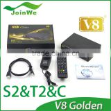 New Arrive V8 Golden DVB-S2+T2/C digital full 1080p HD satellite receiver iptv set top box support powervu patch ccc am 3g