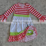 wholesale baby girl winter wear stripes cotton reindeer kids christmas clothing