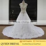 Real Works Luxury Crystals Cathedral/Royal Train Wedding Dresses in Dubai 2016