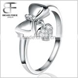 Personality Fashion Popular 925 Sterling Silver Inlaid Zircon Bow-Knot Heart Ring