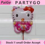 New 14.5 inch hello kitty balloon with stick and cup for girl birthday small round foil air balloons                                                                         Quality Choice