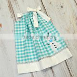 Toddler Children pillowcase dress snowman check dress for baby girl
