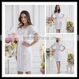 Real Sample Bateau Sheath Short Sleeve Knee Length Tulle Lace Applique Bridesmaid Dresses xyy07-068