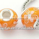 Handmade Polymer Clay Ceramics European Jewellery Beads, Coral(FPDL-H002-9)