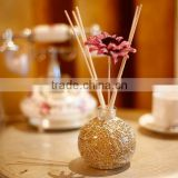 120ml colored glaze glass bottle aroma reed diffuser with rattan sticks and sunflower