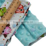 Hot Selling Opal Blue Minky Owl Cotton Print Drool Pad for Outdoor                                                                         Quality Choice