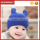 V-16 Pretty baby knitted plain cuff beanie earflap benaie hat colorful crochet baby beanie