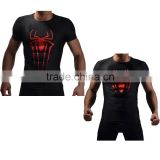 Wholesale OEM Service Male Superheroes Spiderman Compression Tshirt Base Layer Fitness Shirt Custome Sportswear for Men