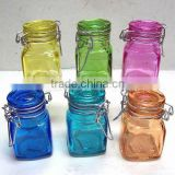 clip top glass canisters, square colorful glass jar with lid, many other shape avaliable