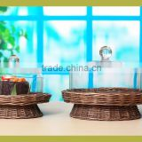 Elegant clear glass food dome cover with willow base