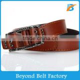 Beyond High Quality Unisex Brown Fashion PU Leather Jeans Belt for Men