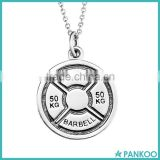 925 Sterling Silver Weightlifting Fitness Jewelry Barbell Olympic Weight Plate 50kg Pendant Necklace