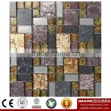 IMARK Marble Mosaic Tiles with Goldleaf Mosaic Tiles and Painting Glass Mosaic Tiles for Wall Decoration Code IXGM8-096