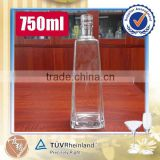 Fancy 750ml vodka , brandy, whisky clear glass bottle custom shape                                                                                                         Supplier's Choice