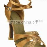 wide and ankle strap crystal stone satin middle heel comfortable and fashionable ladies latin salsa dance shoes