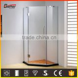 Frameless wall enclosed glass bathroom shower cubicle
