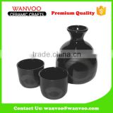 Black Japanese Custom Porcelain Sake Set With Wine Glasses
