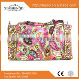 2015 Hot high quality quilted fabric floral fashion 100% cotton fancy hipster women duffle beach travel bag