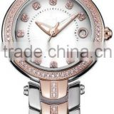 rose gold ladies watch with rhinestone japan quartz movt women bracelet wrist watch stainless steel