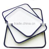 Enamel Dish dinnerware large capacity tray enamel square roasting pan storage food enamel tray dish