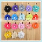 "2"" petal feather chiffon fabric flower for baby hair accessories rhinestones center lace flower"