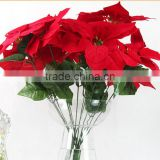 7 heads Christmas Decorative flower Artificial Poinsettias