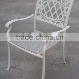 patio dining chair in cast aluminum frame with resin wicker handwoven seat stackable creamy white arm chair #IVY14128