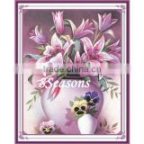 Handmade Pink Flower Pattern Embroidery Diamond Painting DIY Kit Cross Stitch For Living Room