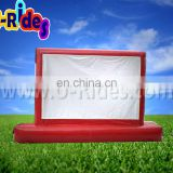 Red color indoor use Air tight inflatable screen for TV Game