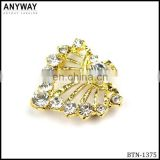 Shiny gold color crystal diamond shoe decoration accessories for woman shoe