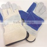 Blue double palm leather gloves for sale/good quality leather gloves/cow split leather gloves for sale