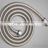 Stainless steel shower hose, brass cap nuts, pvc inner pipe.