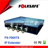 POE switch IP extender, FS-7004TX, 4 channel ethernet and power transmitter over coax cable, IP extender